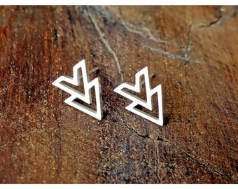 Geometric Stud Earrings/ Minimalist/ Silver Stud/ Gift for her/ Silver/ Triangle Studs/ Bridesmaid gift/ Earrings/ Gift for girl/ Triangle
