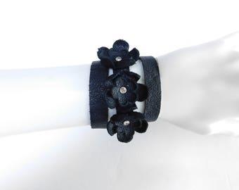 Handmade Stylish Leather flower wrap bracelet,Wrap around bracelet by Leather Blums