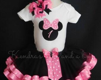 Minnie Mouse Pink and Black First 1st birthday ribbon trim tutu set