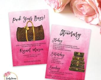 Louis Vuitton - Bachelorette Weekend  - Girl's Getaway - Pack Your Bags - Birthday Weekend - Itinerary - Digital Invitation - BEST SELLER