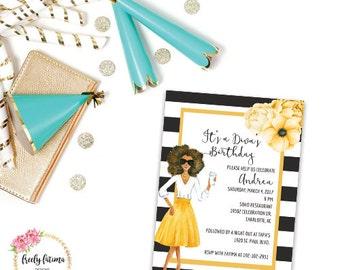 Black and White Stripe - Floral Birthday Invitation - Diva Birthday - African American - Black Girl Magic - Printable Invitation