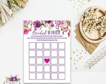Bridal Bingo - Bridal Shower Game - Purple Floral - INSTANT DOWNLOAD