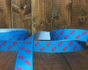 Ralph Lauren Polo Red and Blue 7/8 inch Grosgrain Ribbon