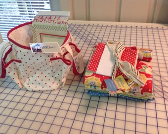 Friends and Flowers kit by Moda.  Mary Englebreit themed fabric of florals and polka dots and stripes with a small tote.