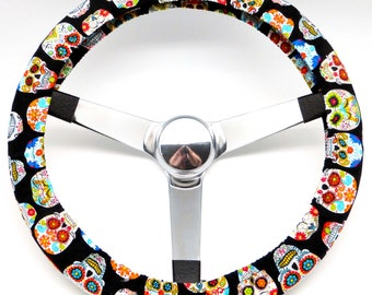 Calavera Sugar Skull Day of the Dead Steering Wheel Cover