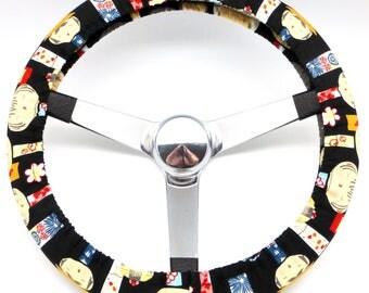 Black Kokeshi Geisha Dolls Steering Wheel Cover