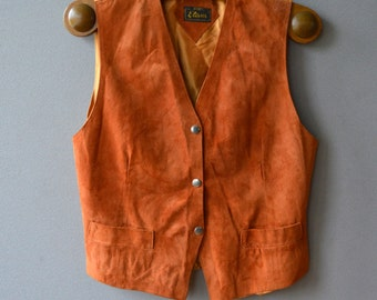 Vintage Brown Womens Leather Waistcoat Suede Leather Hippie Boho Vest Medium Size