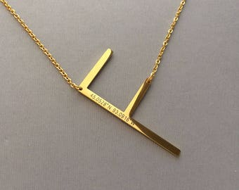 Oversize Letter Necklace - Large Letter Initial Necklace - Sideways Letter - Engraved Coordinates - Gold Plated Necklaces
