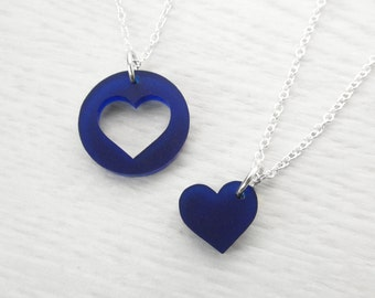 Mothers Day Gift Ideas – Mother Daughter Necklace Set – Mother Daughter Jewelry –  Mother Daughter Matching Necklaces – Blue Heart necklace