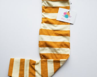 2T Mustard and Cream Stripe Leggings