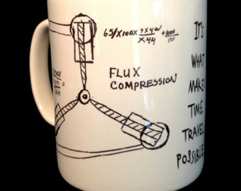 New Flux Capacitor Drawing Doc Emmet Brown Back to the Future BTTF Gift Mug Cup Present 11oz