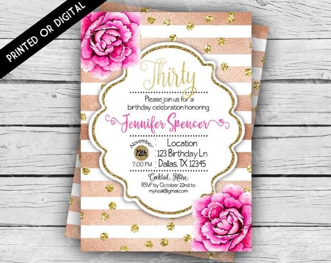Printed Double-Sided - Pink Peonies & ROSE GOLD BIRTHDAY Invitation, 30, 40, 50, 60 Birthday Invite, Custom Invites, Stationery, Celebration