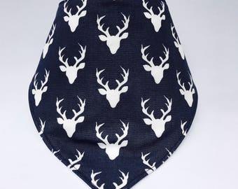 Blue Deer Baby Bib, Deer Baby Bib, Bandanna Bib, Bibdanna, Drool Bib, Modern Baby Bib, Baby Boy Bib, Baby Shower Gift