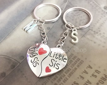 Hear Keychains-A SET Silver Sister Jewelry, Sister Keychain,Personalized Friendship gift, Initial Keychain,Sisters Keyring
