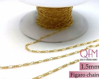 1 meter (3.28 Feet) Gold filled Figaro chain unfinished 1.5mm - This type of chain is also available in bulk (spools)