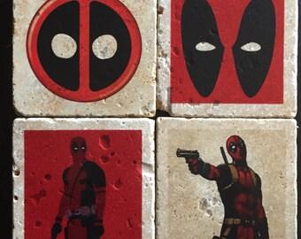 Deadpool Coasters - Tumbled Tile Coasters - Wade Wilson - Deadpool Symbol - Marvel Comics - Set of 4