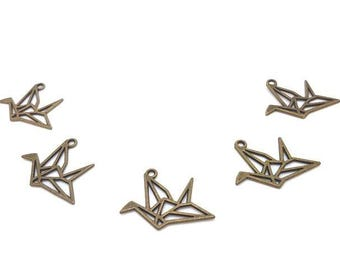 10 charms crane Origami bronze 21x30mm
