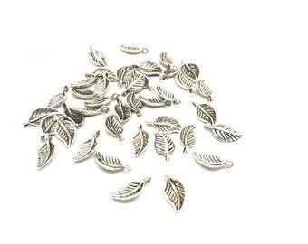 40 charms leaves silver Matt 14.5x7.5mm