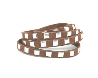 5 m brown suede with silver squares