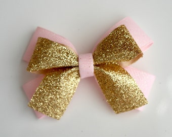 Glitter Gold and Pink Hair Bow Clip