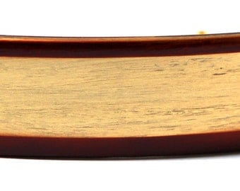 French Cellulose Acetate Hand-Painted Golden with Brown Border X-Large Barrette Celluloid Acetate 4x1 Inch P19