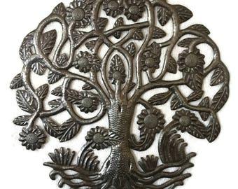 "Inspirational Garden Tree of Life, Haitian Home Wall Art, 15"" x 15.5"""