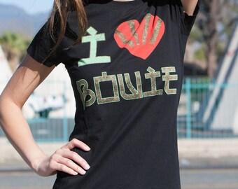 I Heart Bowie Women's T-Shirt (BWE0146-502BLK) bowie, david, ziggy stardust, reflect, vision, golden years, lets dance, 1970s