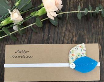 Aqua Blue Felt and Fabric Flower Headband for newborn/infant/baby/toddler/little girl