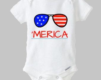 4th of July Onesie, MERICA Onesie, Freedom Onesie, Fourth of July Onesie, Patriotic Onesie