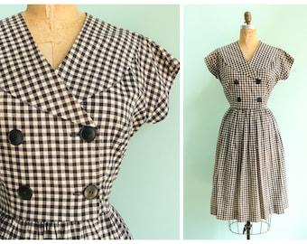 Vintage 1950s Black and White Gingham Dress   Size Medium/Large