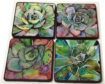 Set of 4 Succulent Wood Coasters Handmade Wooden Coasters from Original Paintings, 4x4