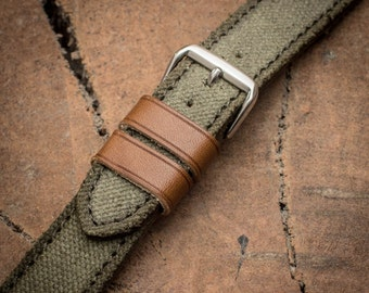 24mm 22mm 20mm 18mm straps Canvas leather watch band Vegetable tanned leather watch strap 18 mm 20 mm watch band 22 mm 24 mm watch strap