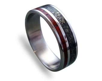 Titanium Wedding Band with Cocobolo Wood and Crushed Pyrite Inlays, Wooden Ring, Mens Engagement Ring, Titanium Wedding Band, Womens Ring