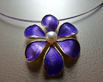 Purple Flower Pendant with a Natural Pearl and Goldplated Silver