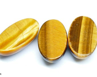 Wholesale Three Golden 18x10 mm Oval Tiger's Eye cabochons