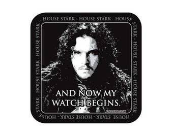"""GAME Of THRONES - Fridge Magnet """"And Now My Watch Begins"""" - Jon Snow - Shiny Gloss Finish - Original unofficial TV themed design"""