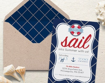 Nautical Party Invite. Sail into Summer Nautical Party Invite. Personalized - Digital / Printable File