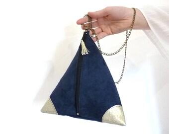 Pochette pyramide, pochette berlingot, pochette mariage, bleu marine