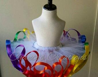 White rainbow ribbon trimmed tutu