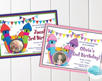 Personalised Bouncy Castle Themed Birthday Invitations with Envelopes