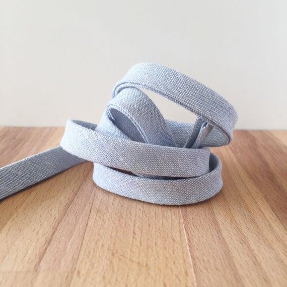 "Bias Tape- Robert Kaufman Essex Yarn-Dyed Chambray 1/2"" double-fold binding- Light Blue- 3 yard roll"