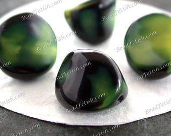 Vintage Beads, 14 x 11mm Vintage West German Black & Green Pressed Glass Beads, Vintage Beads VB-046