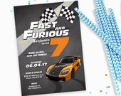 Race Car Fast and Furious Birthday Invitation - Boy birthday race car invites, car birthday party invites