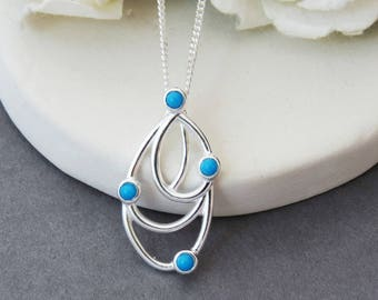 Turquoise Pendant Necklace, 925 Sterling Silver Turquoise Necklace, Turquoise Jewelry, Blue Jewellery, Gift for Women