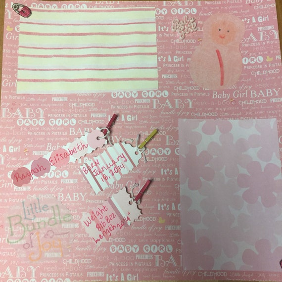 Scrapbooking:Bundle of Joy, 12x12 Premade Scrapbook Page