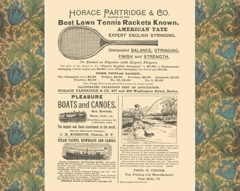Vintage Tennis Poster, Vintage Fishing Poster, Vintage Canoe Poster, Office Wall Decor, Home Wall Art