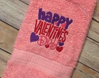 Happy Valentine's Day bathroom hand towel