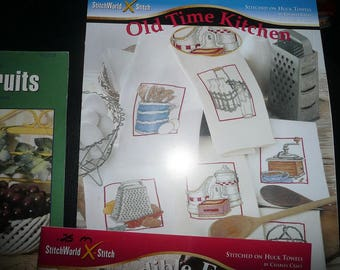 Stitch World X- Stitch Pattern Leaflets  Incredible Edibles,Old Time Kitchen, Blessed Fruits
