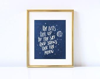 Show me the moon, kids room decor print.
