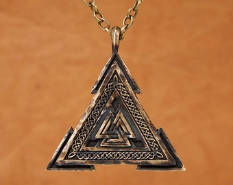 Large Viking Valknut Warrior Pendant Norse Jewelry Necklace